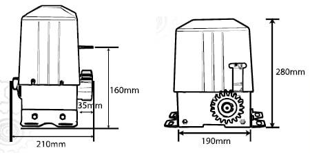 Kích thước mô tơ cổng trượt tự động SL100ACP