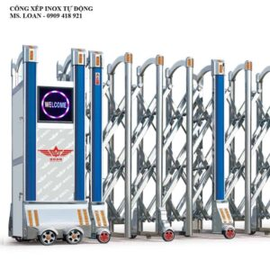 Mẫu cổng xếp inox tự động cho cơ quan